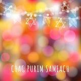 Grußkarte Chag Purim mit Girlande von Lichtern und von jüdischen Sternen, jüdisches Feiertagskonzept, Lizenzfreies Stockfoto