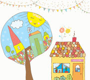 Grußkarte oder -einladung mit Haus, Bäume, Flaggenflaggen für Kinder Lizenzfreies Stockfoto