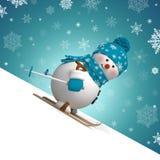 Grußkarte Schneemann des Skifahrens 3d Weihnachts Stockbilder