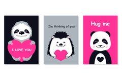 Grußkartensatz - nette Tiere Vector die Hand gezeichnete Schablone für Partei des Valentinsgrußes s Tagesund scrapbooking usw. Lizenzfreies Stockfoto
