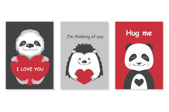 Grußkartensatz - nette Tiere Vector die Hand gezeichnete Schablone für Partei des Valentinsgrußes s Tagesund scrapbooking usw. Stockbilder