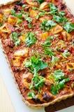 Grul i pomidorów weganinu tarta obraz stock
