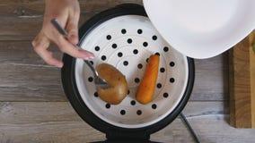 Grula i marchewka kłaść out na talerzu od multicooker zbiory