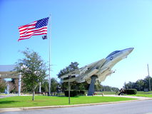 Grumman F-14 Tomcat. With American Flag at Pensacola Naval Aviation museum in Florida Royalty Free Stock Images
