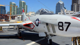 The Grumman F9F/F-9 Cougar. SAN DIEGO CA USA APRIL 07 2015: The Grumman F9F/F-9 Cougar was an aircraft carrier-based fighter aircraft for the United States Navy stock photo