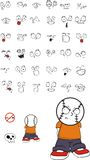 Grumpy Baseball kid face expressions set. Funny baseball kid face expressions set in vector format very easy to edit Stock Image