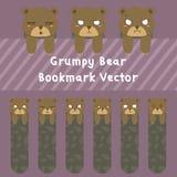 Grumpy Bear Bookmark Vector Set. Animal printable bookmark template. Cute grumpy bear bookmark vector set Royalty Free Stock Photography