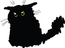 Grumpy black cat. Vector drawing of a fluffy fat grumpy black cat with green eyes and large whiskers Stock Photo