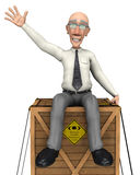 Grumpy businessman on delivery Royalty Free Stock Photography