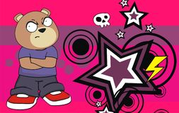 Grumpy chubby teddy bear cartoon expression background Royalty Free Stock Images