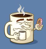 Grumpy Coffee Cartoon Character Eating a Donut Stock Photography