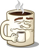 Grumpy Coffee Mug Cartoon Character Holding A Smaller Mug Stock Images