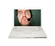 Grumpy Customer Service Man on Laptop Screen Stock Photo