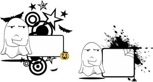 Grumpy Ghost cartoon expression halloween copyspace set Royalty Free Stock Photo