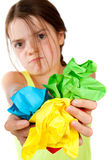 Grumpy Girl Holding Crumpled Paper Balls Stock Photos