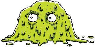 Grumpy Green Blob. A cartoon of a grumpy, green blob of goo stock illustration