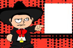 Grumpy kid mexican mariachi cartoon expressions background Royalty Free Stock Images