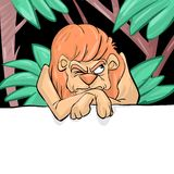 A grumpy lion. In a jungle royalty free illustration