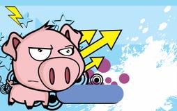 Grumpy little big head pig cartoon background2 Stock Images
