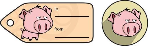 Grumpy little big head pig cartoon sticker card Stock Photography