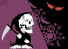 Grumpy little chubby grim skull skeleton cartoon halloween background. Funny little chubby grim skull skeleton cartoon halloween background in vector format Royalty Free Stock Photo