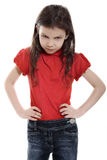 Grumpy Little Girl. On white background stock photo