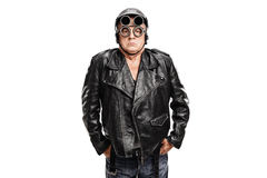Grumpy mature motorcyclist Royalty Free Stock Images
