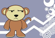 Grumpy Monkey expression cartoon background Stock Images