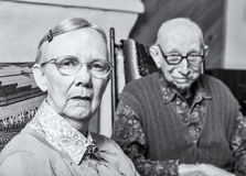 Grumpy Old Woman and Man Stock Images