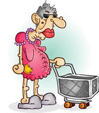 Grumpy Old Woman with a Shopping Cart Cartoon Character Royalty Free Stock Images