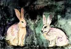 Grumpy rabbits having a discussion. Royalty Free Stock Photography