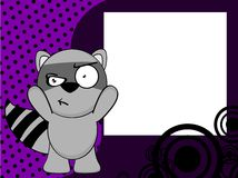 Grumpy Raccoon emotion frame background Royalty Free Stock Photo