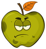 Grumpy Rotten Green Apple Fruit Cartoon Mascot Character. Illustration Isolated On White Background Royalty Free Stock Photos