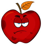 Grumpy Rotten Red Apple Fruit Cartoon Mascot Character. Illustration Isolated On White Background Stock Photography