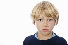 Grumpy school boy Royalty Free Stock Images