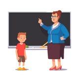 Grumpy school teacher and sad, bad pupil boy vector illustration