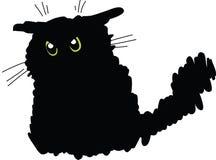 Grumpy svart katt Arkivfoto