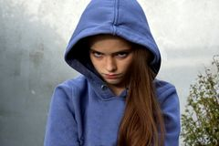 Grumpy teenage girl Stock Image