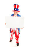 Grumpy Uncle Sam wiith Sign Stock Photos
