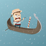 Grumpy venetian gondolier in rainy weather Stock Image