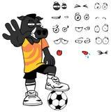 Grumpy wild boar soccer cartoon expressions set Stock Photos