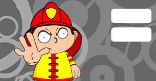 Grumpy young firefighter kid cartoon background. Cute young firefighter kid cartoon background in vector format Royalty Free Stock Image