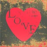 Grun retro do cartão do dia de Valentim do coração do amor Fotografia de Stock Royalty Free
