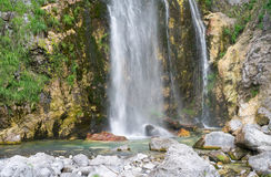 Grunars waterfall near Theth - closeup. A picture of beautiful waterfall & x22;Grunars Waterfall& x22; near the Albanian village of Theth & x28;Thethi& x29 Royalty Free Stock Images