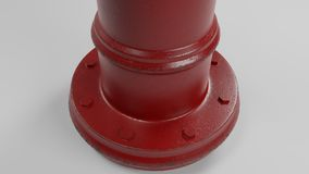 Grund av den röda brandposten som isoleras på vit med några slitna fläckar och illustrationen för rost 3d vektor illustrationer