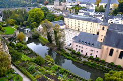 Grund district of Luxembourg City seen with Neumuenster Abbey and Alzette river Royalty Free Stock Image