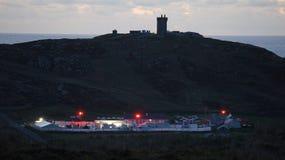 Grund för Star Wars filmbesättning på Banbas krona i Malin Head, Irland Royaltyfria Foton