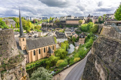Grund, Luxembourg City. Beautiful view of Grund from the Corniche, Luxembourg City Stock Images