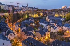 Grund and the Luxembourg Skyline at Twilight royalty free stock image