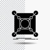 Grund mitt, anslutning, data, navskårasymbol på genomskinlig bakgrund Svart symbol royaltyfri illustrationer